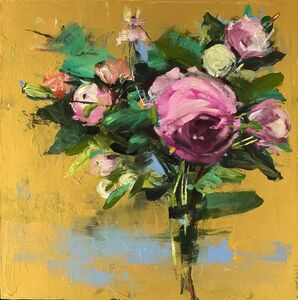 Pink Bouquet on Gold