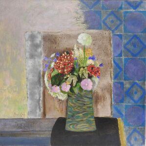 Bouquet au carrelage bleu