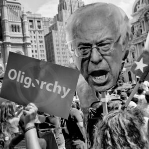 Bernie Sanders supporters protest at the Democratic National Convention.