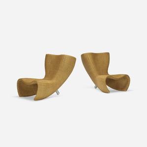 Wicker chairs, pair