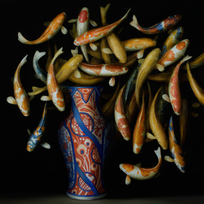 Koi and Red and Blue Vase