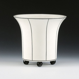 Vase on Four Ball Feet, Black