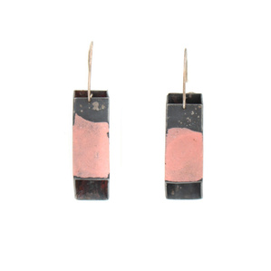 Pink Square Tube Earrings