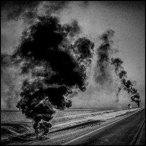 Burning Tires. Corcoran, California.