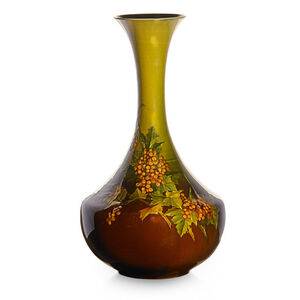 Early Standard Glaze Light vase with fruiting viburnum branches, Cincinnati, OH