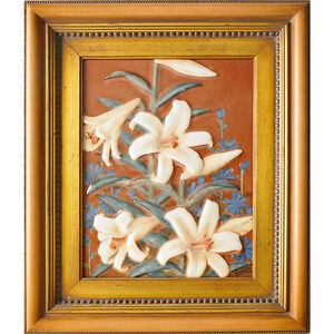 Porcelain Plaque With Lilies, Unidentified Artist (framed), Cincinnati, OH