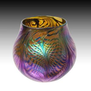 Iridised Gold Amber Threaded Web Vase
