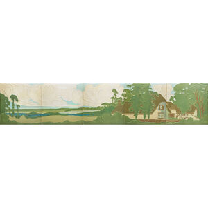 Rookwood Faience, Fine Large Five-Tile Frieze Decorated In Cuenca With Cottage In A Wooded Landscape, Cincinnati, OH