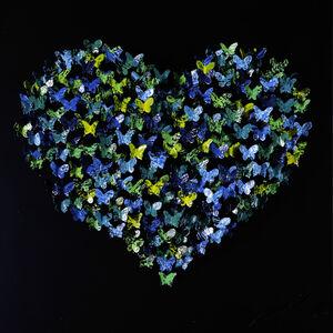 Heart Mini - Blue/Green on Black Matte