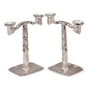Liberty & Co., Pair Of Tudric Candlesticks, England