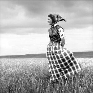 Emma, Hutterite Girl in Field, Duncan Ranch Colony, Harlowton, Montana, June 17, 1994
