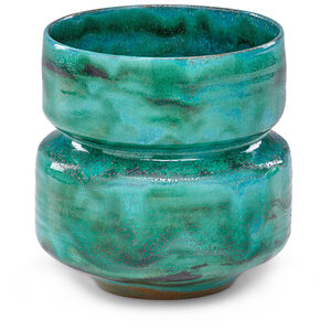 Corseted straight-walled vessel, Turquoise Silverblack glaze, Los Angeles, CA