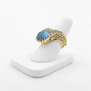 Labradorite Sapphire Gold Ring