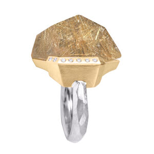 Faceted Rutilated Quartz White Diamond Gold Palladium Handmade Facets Ring