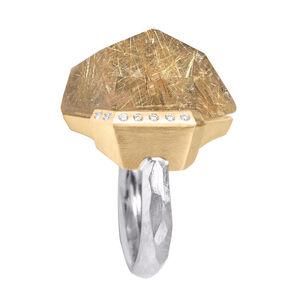 Faceted Rutilated Quartz White Diamond Gold Palladium Handmade Facets Ring