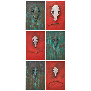 Three two-piece wall-hanging skull diptychs (Black Bear, Coyote, and Fox), Napa, CA