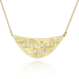 Diamond Baguette Crescent Parquet Necklace