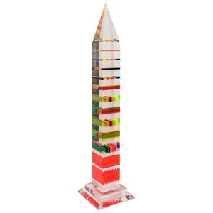 Huge obelisk in lucite with inclusion attributed to Jean-Claude FARHI