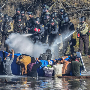 Native American Water Protectors attempt to gain access to Turtle Hill, where many of their ancestors are buried, to pray, 2016.
