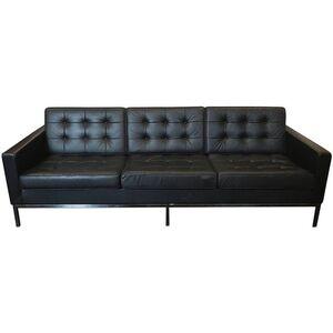 Three-Seat Sofa Black Leather
