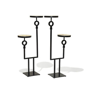 Pair ofguéridons / pedestals with staggered double shelves