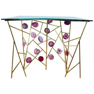 One of a kind console with agates designed by Regis ROYANT