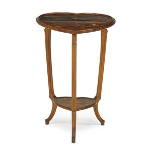 Heart-shaped tiered marquetry side table