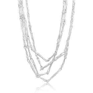 White Sterling Silver Sticks Multiwrap Necklace