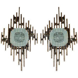 Huge pair of bronze sconces with labradorites by Regis Royant