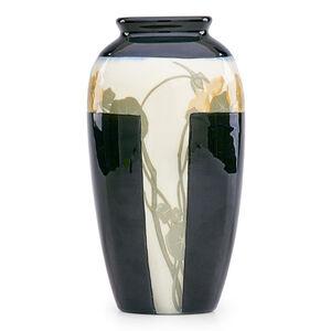 Rare and unusual Black Iris vase with nasturtium (uncrazed), Cincinnati, OH