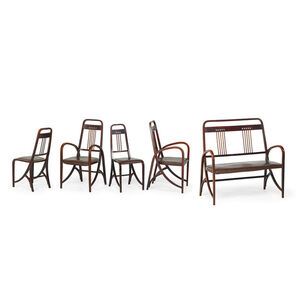 Two armchairs, two side chairs and bench, model no. 511, Austria
