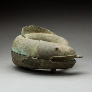 Benin Bronze Box in the Form of a Fish
