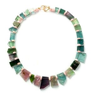 Pink & Green Tourmaline Gold Necklace