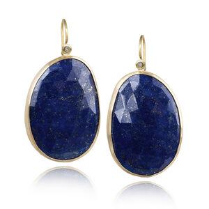 Faceted Blue Gold Lapis Lazuli White Diamond Matte Finish Dangle Drop Earrings