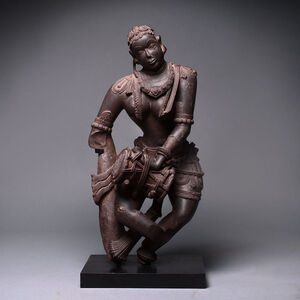 Chalukya Schist Sculpture of a Celestial Entertainer