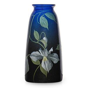 Fine Black Iris vase with clematis (uncrazed), Cincinnati, OH