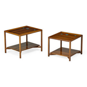 Two Janus side tables, USA
