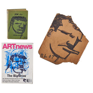 "Three marker drawings of The Smoking Man on cardboard notepad backing, Art News magazine, and ""Jim the Conqueror"" by Peter Kyne"