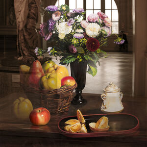 The Costume of Painter - Still Life with flowers, oranges 3D