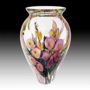 Large Lavender Clematis, Pink Hollyhock Vase