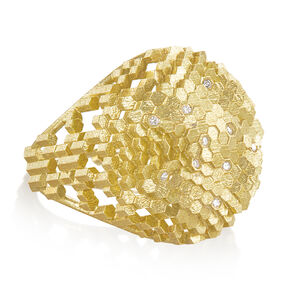 White Diamond Hex Dome Structures Reflective Gold Ring