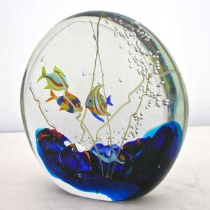 Alberto Dona 1980 Modern Blue Red Yellow Green Murano Glass Aquarium Sculpture