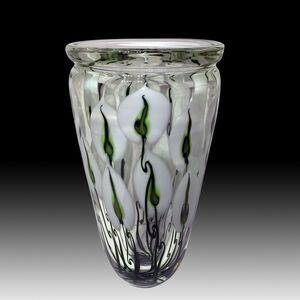 XL Triple White Anthurium Crystal Vase
