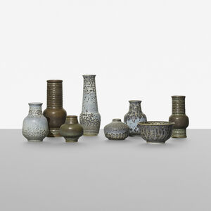 collection of eight vases
