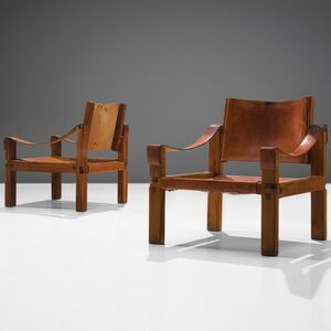 Pair of Congac Leather Armchairs S10X