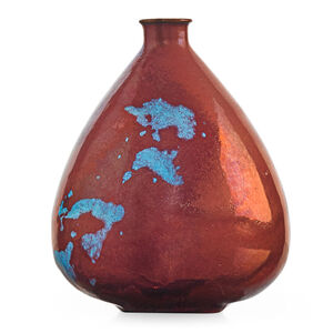 Small teardrop bottle, fine oxblood and Chinese blue glaze with melt fissures, Los Angeles, CA