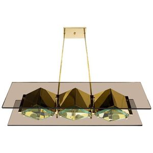 Stilnovo Chandelier with Brass Shades and Green Glass Diffusers