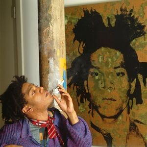 Jean-Michel Basquiat with Oxidized Portrait by Warhol