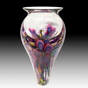 Large Scarlet Clematis, Pink Hollyhocks Vase