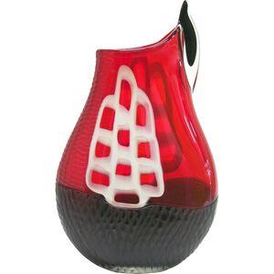 Alberto Dona 1980s Modern Sculpture Red Black White Engraved Murano Glass Vase